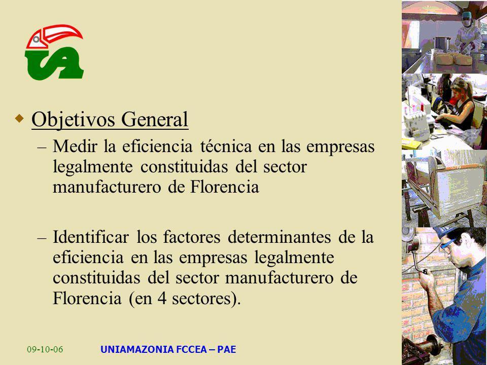 09-10-06UNIAMAZONIA FCCEA – PAE Objetivos General – Medir la eficiencia técnica en las empresas legalmente constituidas del sector manufacturero de Fl