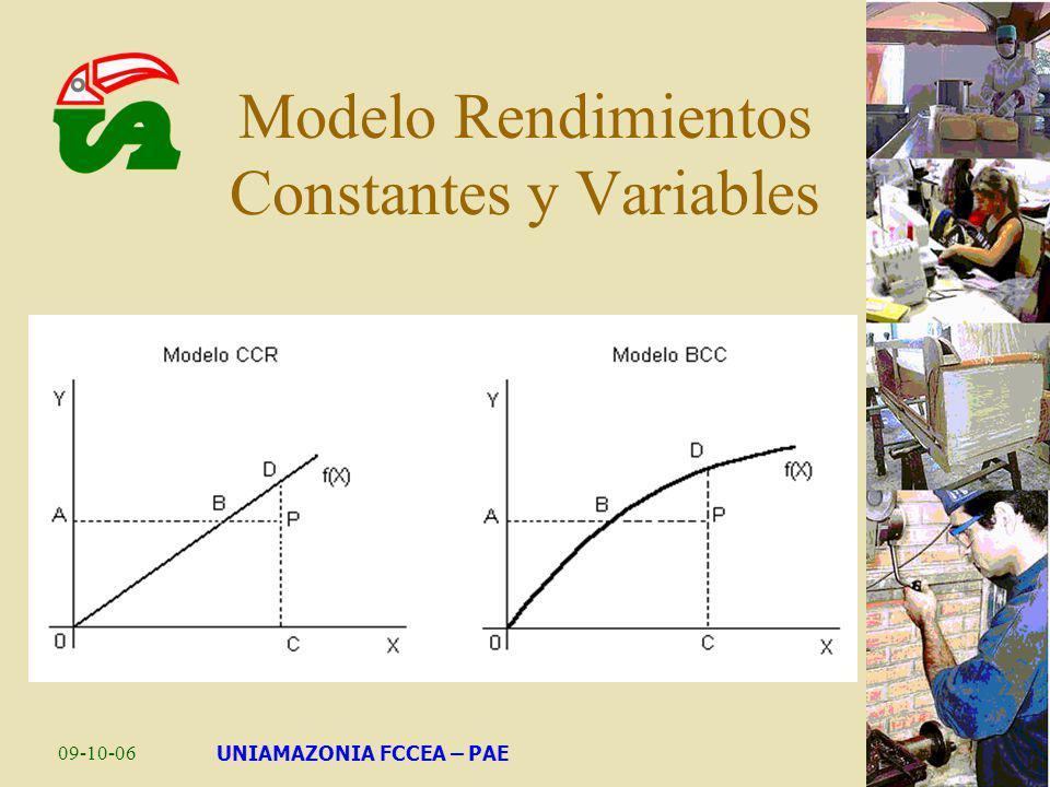 09-10-06UNIAMAZONIA FCCEA – PAE Modelo Rendimientos Constantes y Variables