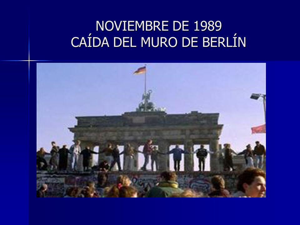 NOVIEMBRE DE 1989 CAÍDA DEL MURO DE BERLÍN