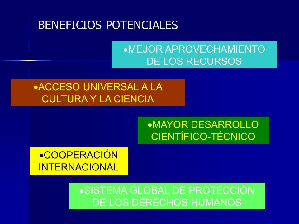 BENEFICIOS POTENCIALES MEJOR APROVECHAMIENTO DE LOS RECURSOS ACCESO UNIVERSAL A LA CULTURA Y LA CIENCIA MAYOR DESARROLLO CIENTÍFICO-TÉCNICO COOPERACIÓ