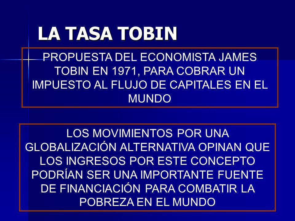 PROPUESTA DEL ECONOMISTA JAMES TOBIN EN 1971, PARA COBRAR UN IMPUESTO AL FLUJO DE CAPITALES EN EL MUNDO LA TASA TOBIN LOS MOVIMIENTOS POR UNA GLOBALIZ