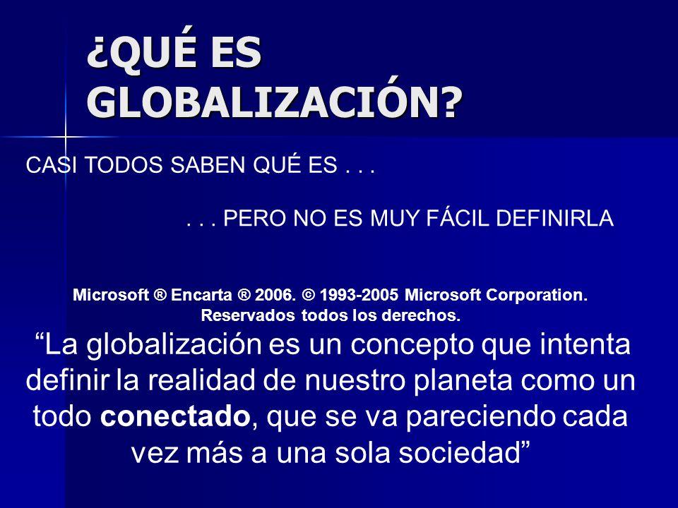 ¿QUÉ ES GLOBALIZACIÓN? CASI TODOS SABEN QUÉ ES...... PERO NO ES MUY FÁCIL DEFINIRLA Microsoft ® Encarta ® 2006. © 1993-2005 Microsoft Corporation. Res