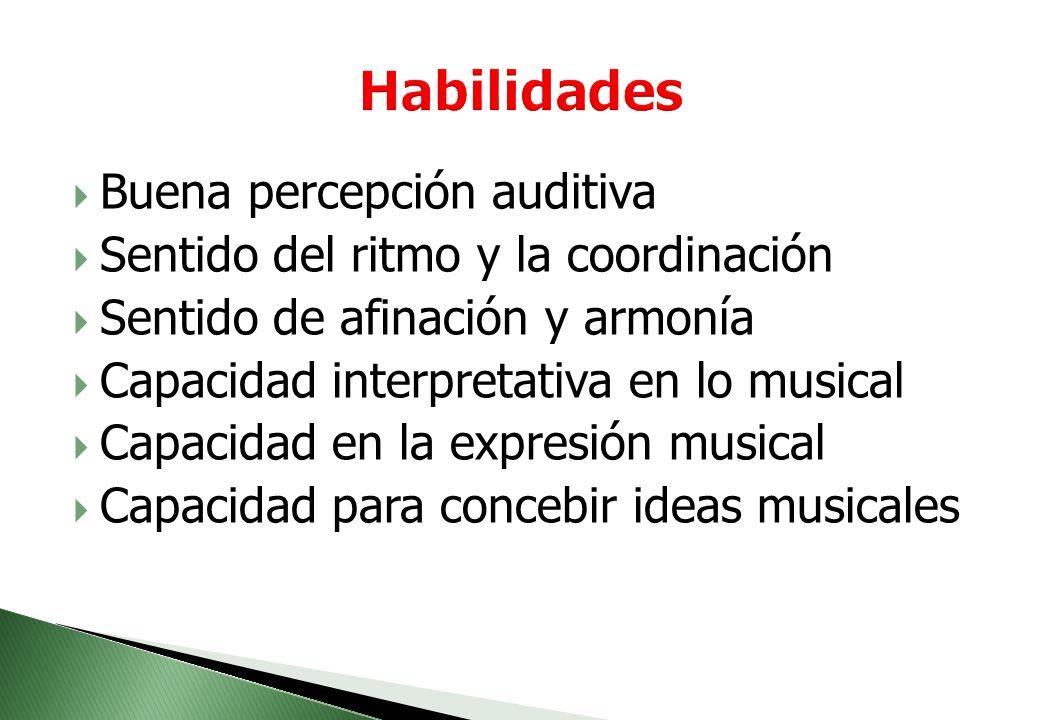 Intereses. Sensibilidad hacia el arte. Disfrute musical. Motivación por la fidelidad del sonido. Interés de comunicación por medio de la música. Dispo