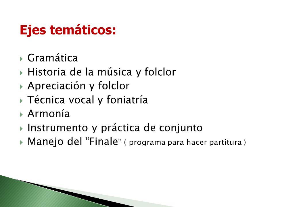 El plan de estudios del programa de música esta conformado por cuatro ejes básicos a saber: 1. Lenguaje Musical 2. Educación Instrumental 3. Práctica