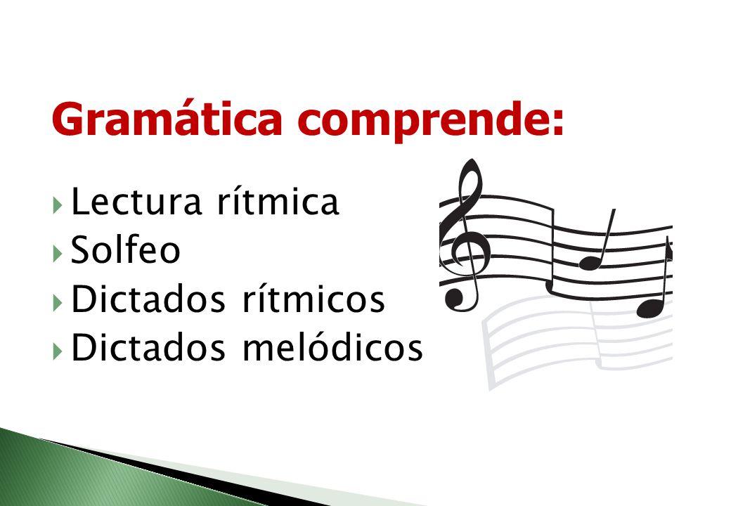 Ejes temáticos: Gramática Historia de la música y folclor Apreciación y folclor Técnica vocal y foniatría Armonía Instrumento y práctica de conjunto M