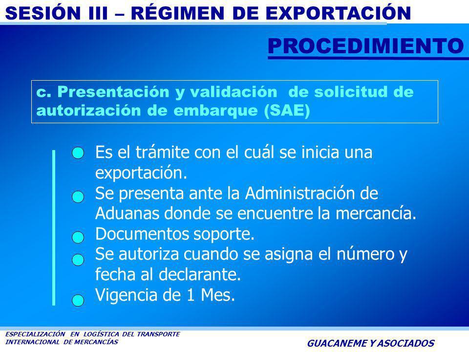 SESIÓN III – RÉGIMEN DE EXPORTACIÓN ESPECIALIZACIÓN EN LOGÍSTICA DEL TRANSPORTE INTERNACIONAL DE MERCANCÍAS GUACANEME Y ASOCIADOS Cuando sean requerid