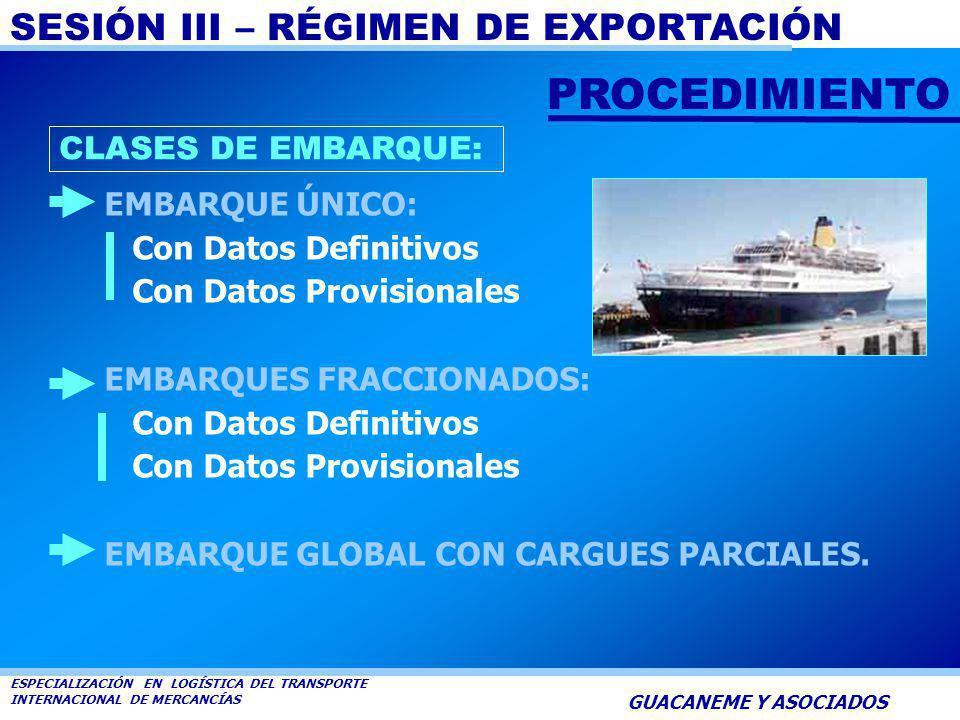 SESIÓN III – RÉGIMEN DE EXPORTACIÓN ESPECIALIZACIÓN EN LOGÍSTICA DEL TRANSPORTE INTERNACIONAL DE MERCANCÍAS GUACANEME Y ASOCIADOS EMBARQUE Es la opera