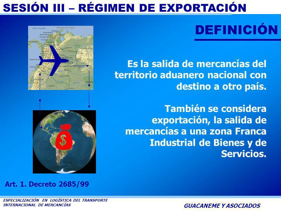 SESIÓN III – RÉGIMEN DE EXPORTACIÓN ESPECIALIZACIÓN EN LOGÍSTICA DEL TRANSPORTE INTERNACIONAL DE MERCANCÍAS GUACANEME Y ASOCIADOS GUACANEME Y ASOCIADO
