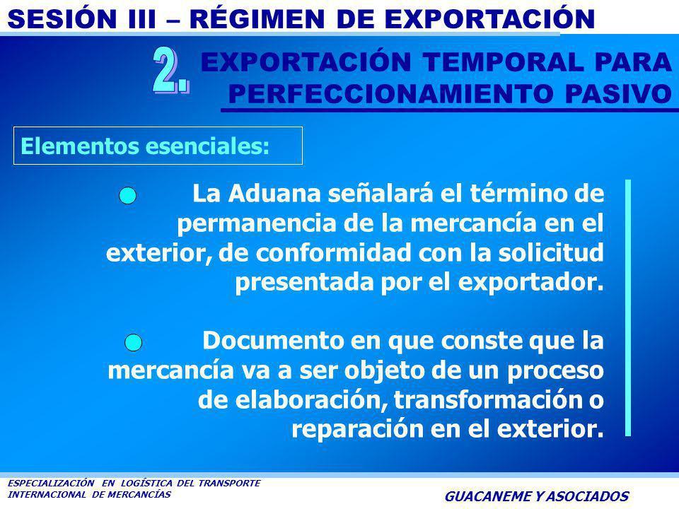 SESIÓN III – RÉGIMEN DE EXPORTACIÓN ESPECIALIZACIÓN EN LOGÍSTICA DEL TRANSPORTE INTERNACIONAL DE MERCANCÍAS GUACANEME Y ASOCIADOS Es la modalidad de e