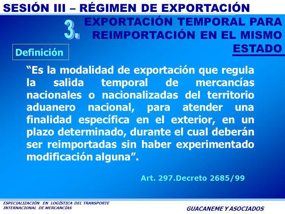 SESIÓN III – RÉGIMEN DE EXPORTACIÓN ESPECIALIZACIÓN EN LOGÍSTICA DEL TRANSPORTE INTERNACIONAL DE MERCANCÍAS GUACANEME Y ASOCIADOS La Aduana señalará e