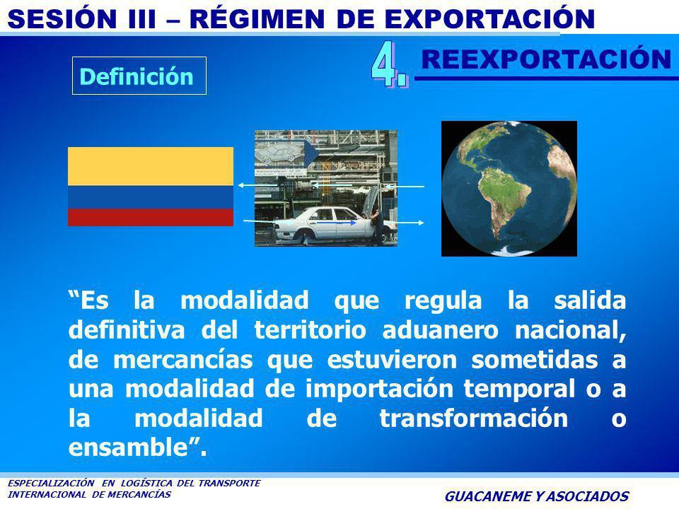 SESIÓN III – RÉGIMEN DE EXPORTACIÓN ESPECIALIZACIÓN EN LOGÍSTICA DEL TRANSPORTE INTERNACIONAL DE MERCANCÍAS GUACANEME Y ASOCIADOS Se tramitará como ex