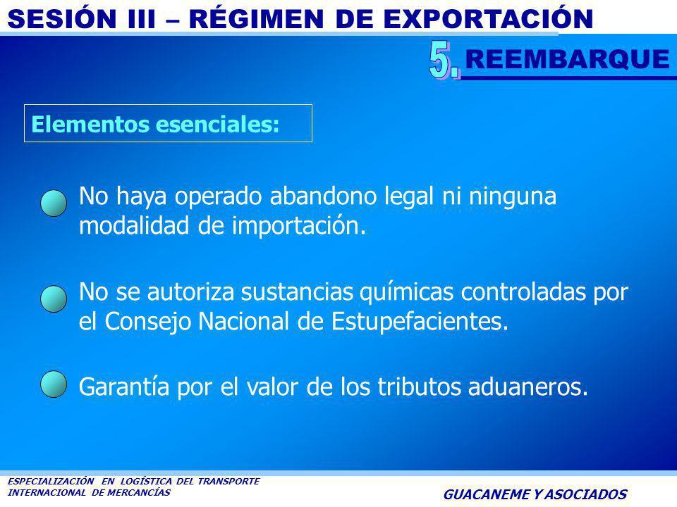 SESIÓN III – RÉGIMEN DE EXPORTACIÓN ESPECIALIZACIÓN EN LOGÍSTICA DEL TRANSPORTE INTERNACIONAL DE MERCANCÍAS GUACANEME Y ASOCIADOS Es la modalidad que