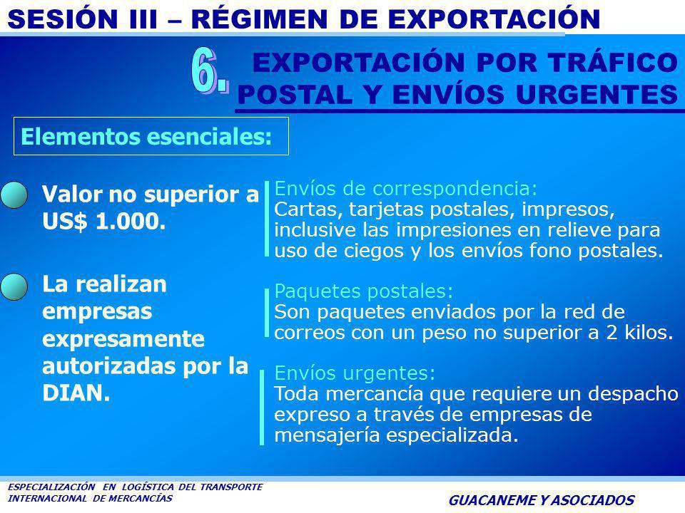 SESIÓN III – RÉGIMEN DE EXPORTACIÓN ESPECIALIZACIÓN EN LOGÍSTICA DEL TRANSPORTE INTERNACIONAL DE MERCANCÍAS GUACANEME Y ASOCIADOS Podrán ser objeto de