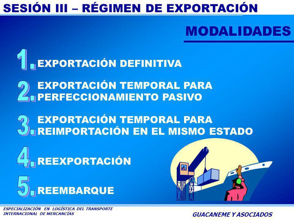 SESIÓN III – RÉGIMEN DE EXPORTACIÓN ESPECIALIZACIÓN EN LOGÍSTICA DEL TRANSPORTE INTERNACIONAL DE MERCANCÍAS GUACANEME Y ASOCIADOS DEFINICIÓN Es la sal