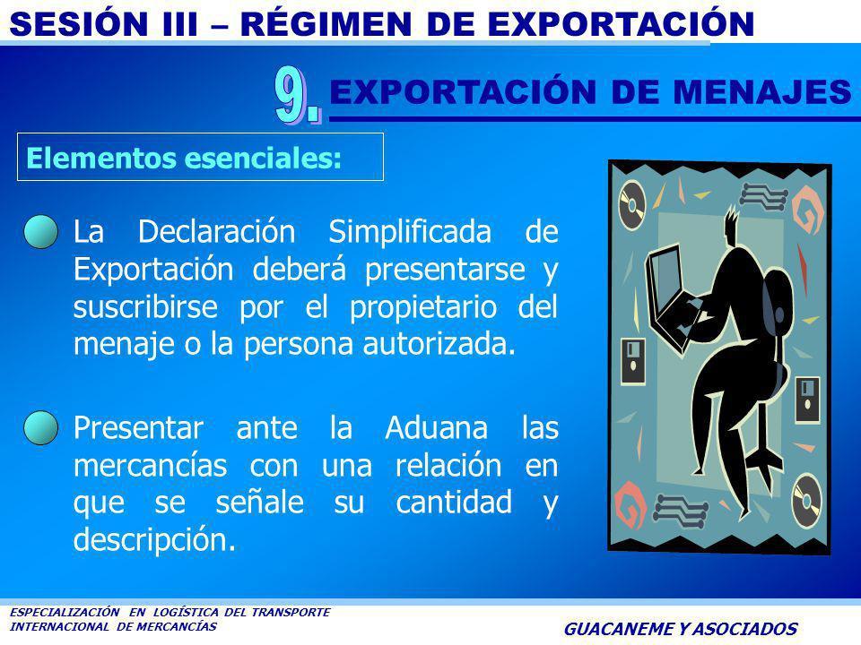 SESIÓN III – RÉGIMEN DE EXPORTACIÓN ESPECIALIZACIÓN EN LOGÍSTICA DEL TRANSPORTE INTERNACIONAL DE MERCANCÍAS GUACANEME Y ASOCIADOS Serán objeto de esta