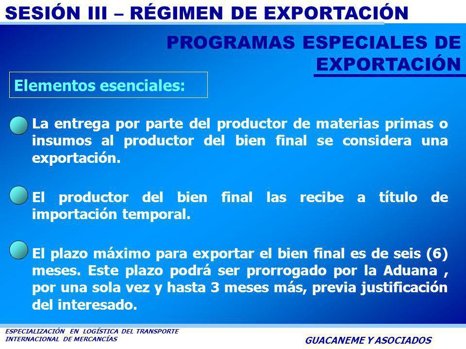 SESIÓN III – RÉGIMEN DE EXPORTACIÓN ESPECIALIZACIÓN EN LOGÍSTICA DEL TRANSPORTE INTERNACIONAL DE MERCANCÍAS GUACANEME Y ASOCIADOS Es la operación medi