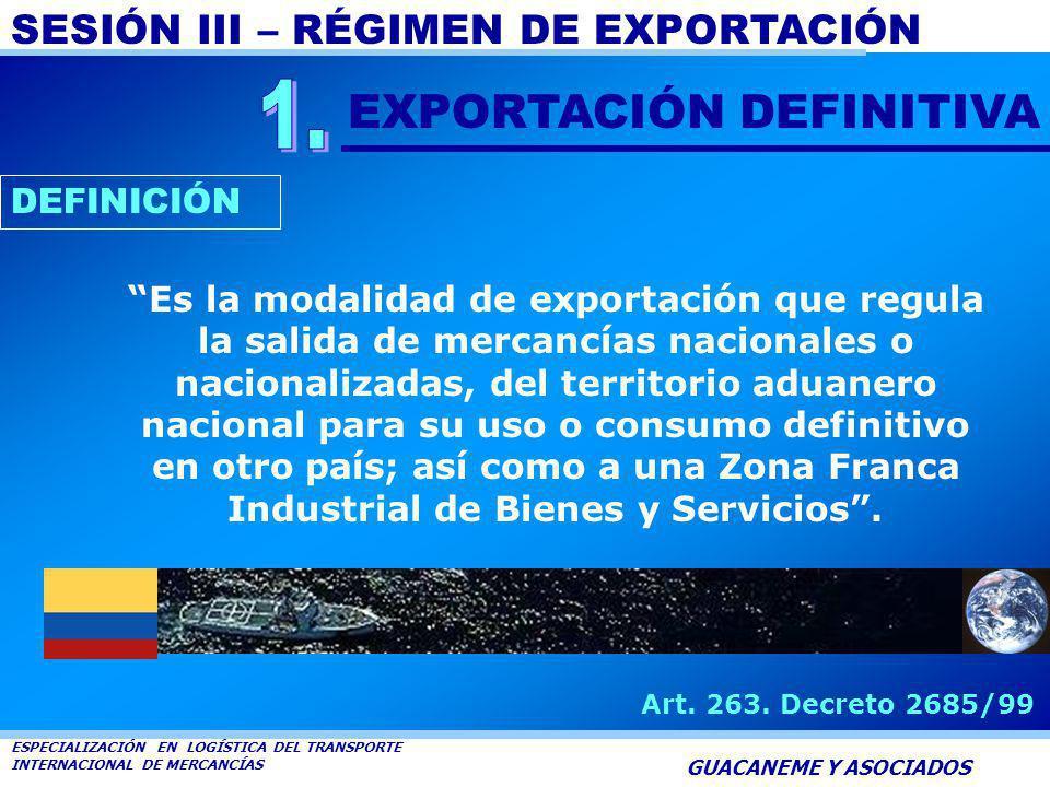 SESIÓN III – RÉGIMEN DE EXPORTACIÓN ESPECIALIZACIÓN EN LOGÍSTICA DEL TRANSPORTE INTERNACIONAL DE MERCANCÍAS GUACANEME Y ASOCIADOS MODALIDADES EXPORTAC