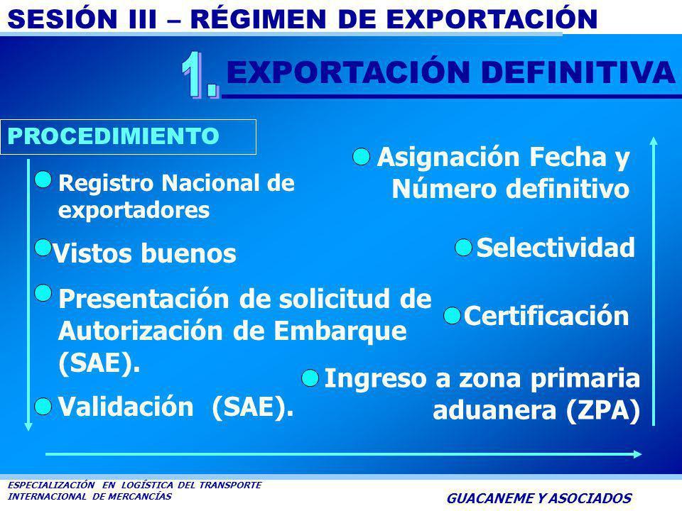 SESIÓN III – RÉGIMEN DE EXPORTACIÓN ESPECIALIZACIÓN EN LOGÍSTICA DEL TRANSPORTE INTERNACIONAL DE MERCANCÍAS GUACANEME Y ASOCIADOS EXPORTACIÓN DEFINITI