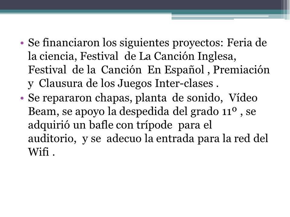 Se financiaron los siguientes proyectos: Feria de la ciencia, Festival de La Canción Inglesa, Festival de la Canción En Español, Premiación y Clausura de los Juegos Inter-clases.
