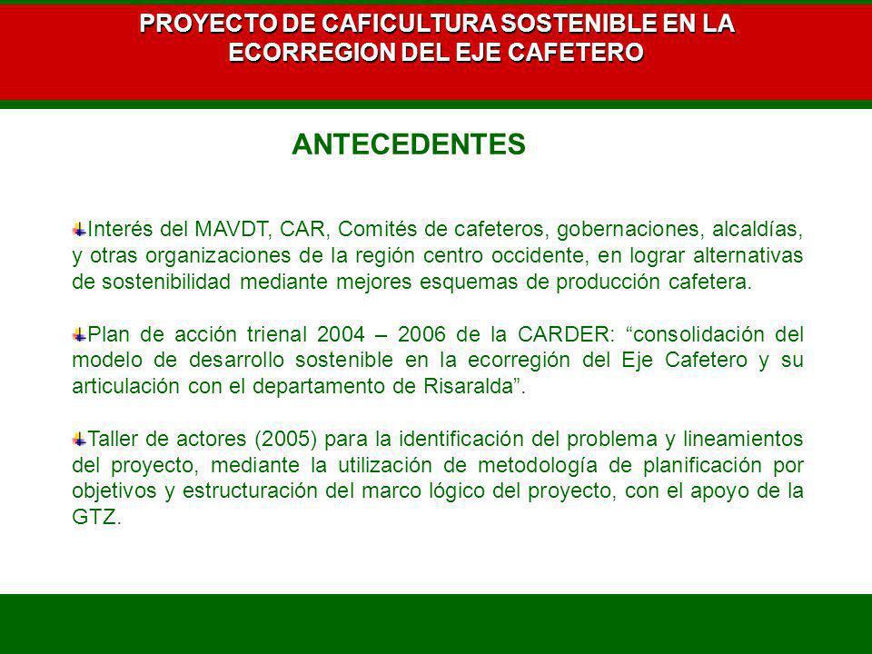 PROYECTO DE CAFICULTURA SOSTENIBLE EN LA ECORREGION DEL EJE CAFETERO Interés del MAVDT, CAR, Comités de cafeteros, gobernaciones, alcaldías, y otras o