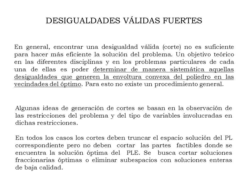 Algunas ideas de generación de cortes se basan en la observación de las restricciones del problema y del tipo de variables involucradas en dichas restricciones.