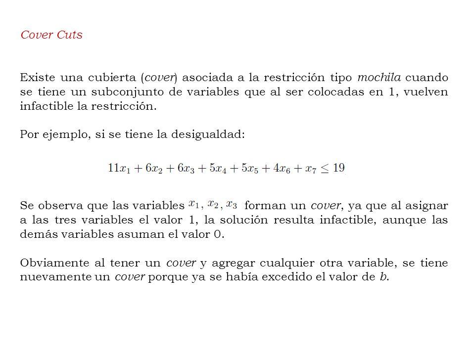 Cover Cuts Existe una cubierta ( cover ) asociada a la restricción tipo mochila cuando se tiene un subconjunto de variables que al ser colocadas en 1, vuelven infactible la restricción.