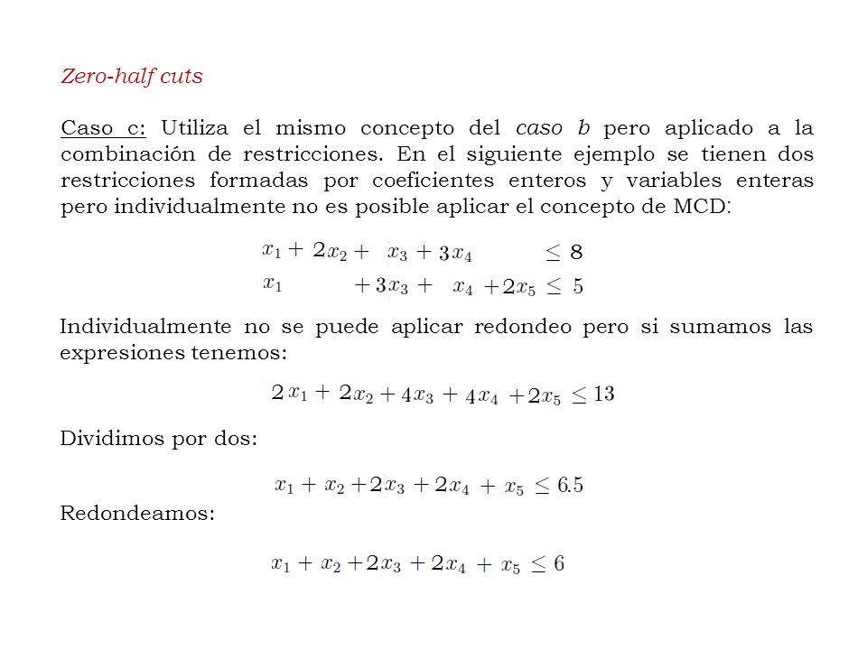 Zero-half cuts Caso c: Utiliza el mismo concepto del caso b pero aplicado a la combinación de restricciones.