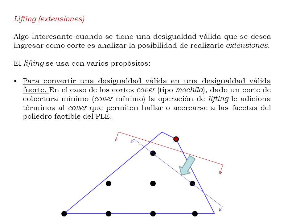Lifting (extensiones) Algo interesante cuando se tiene una desigualdad válida que se desea ingresar como corte es analizar la posibilidad de realizarle extensiones.