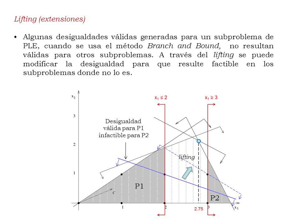 Lifting (extensiones) Algunas desigualdades válidas generadas para un subproblema de PLE, cuando se usa el método Branch and Bound, no resultan válidas para otros subproblemas.