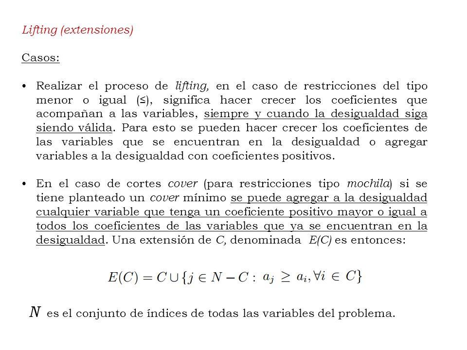 Lifting (extensiones) Casos: Realizar el proceso de lifting, en el caso de restricciones del tipo menor o igual (), significa hacer crecer los coeficientes que acompañan a las variables, siempre y cuando la desigualdad siga siendo válida.