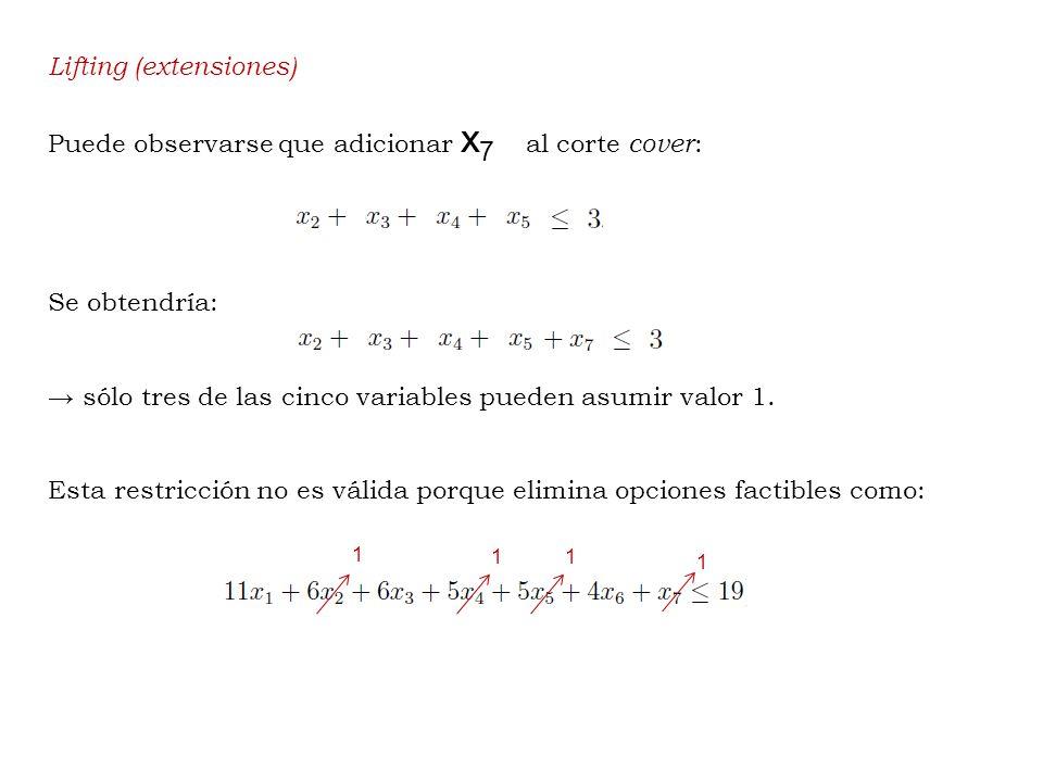 Lifting (extensiones) Puede observarse que adicionar x 7 al corte cover : Se obtendría: sólo tres de las cinco variables pueden asumir valor 1.
