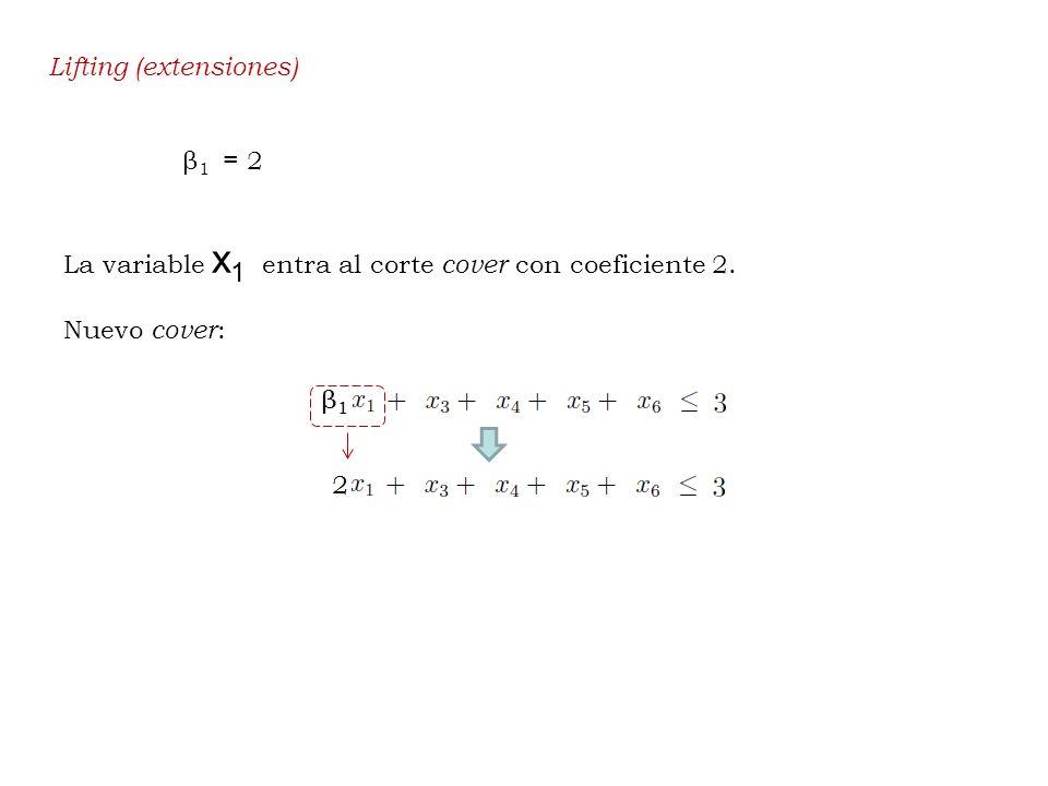 Lifting (extensiones) β 1 = 2 La variable x 1 entra al corte cover con coeficiente 2. Nuevo cover :
