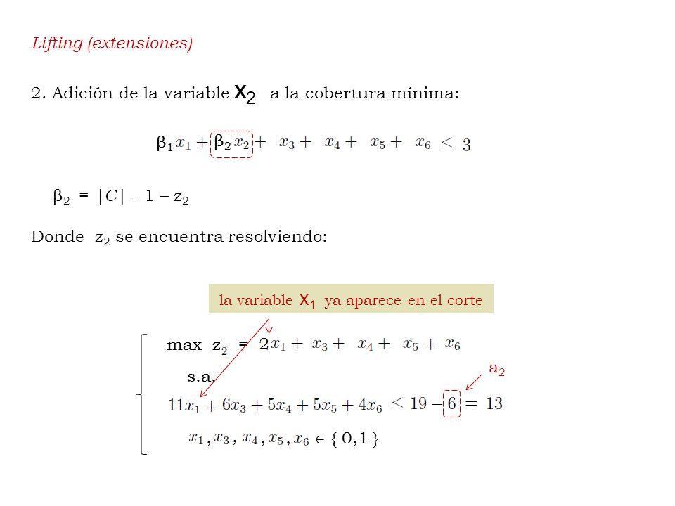 Lifting (extensiones) 2. Adición de la variable x 2 a la cobertura mínima: β 2 =  C  - 1 – z 2 Donde z 2 se encuentra resolviendo: a2a2 la variable x