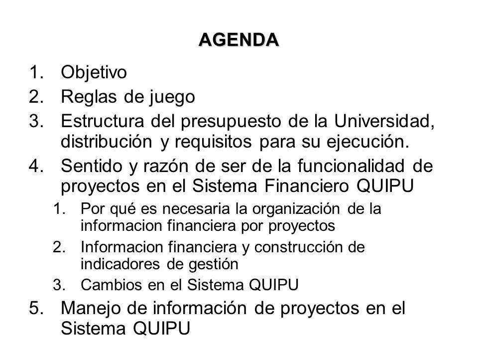 AGENDA 1.Objetivo 2.Reglas de juego 3.Estructura del presupuesto de la Universidad, distribución y requisitos para su ejecución. 4.Sentido y razón de