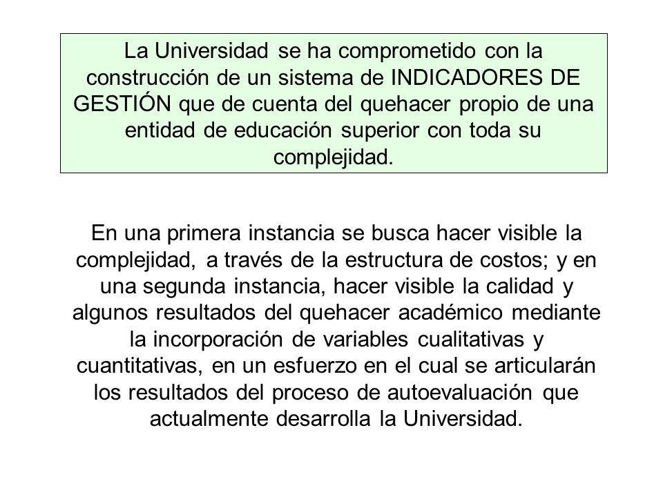 La Universidad se ha comprometido con la construcción de un sistema de INDICADORES DE GESTIÓN que de cuenta del quehacer propio de una entidad de educ