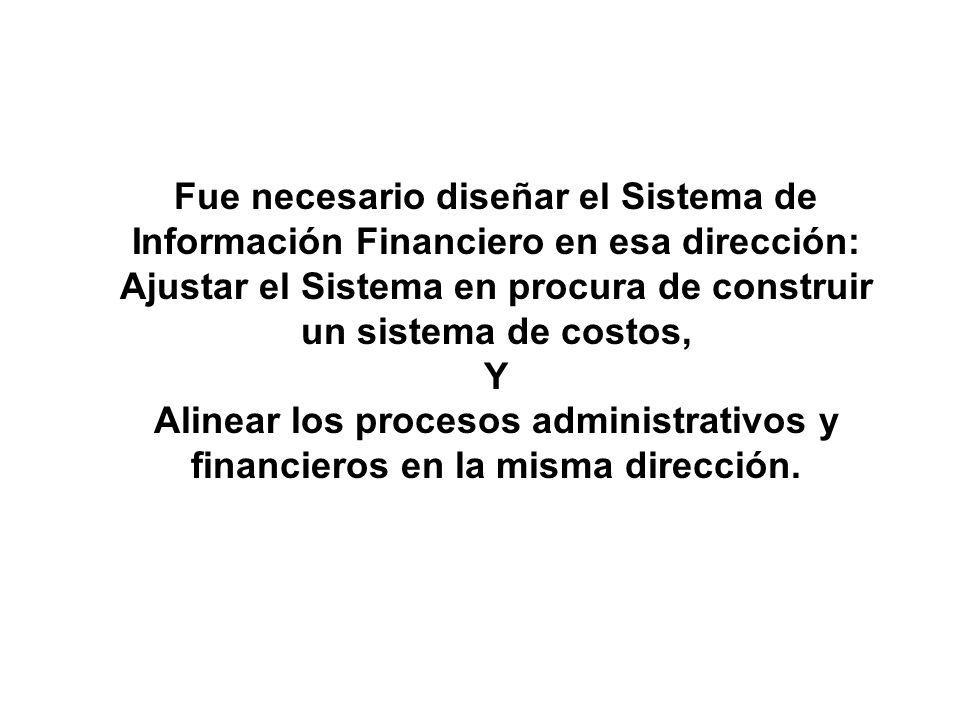 Fue necesario diseñar el Sistema de Información Financiero en esa dirección: Ajustar el Sistema en procura de construir un sistema de costos, Y Alinea