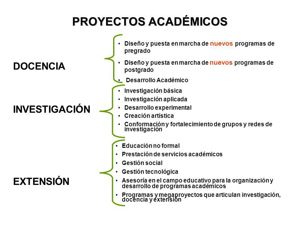 PROYECTOS ACADÉMICOS DOCENCIA INVESTIGACIÓN EXTENSIÓN Diseño y puesta en marcha de nuevos programas de pregrado Diseño y puesta en marcha de nuevos pr