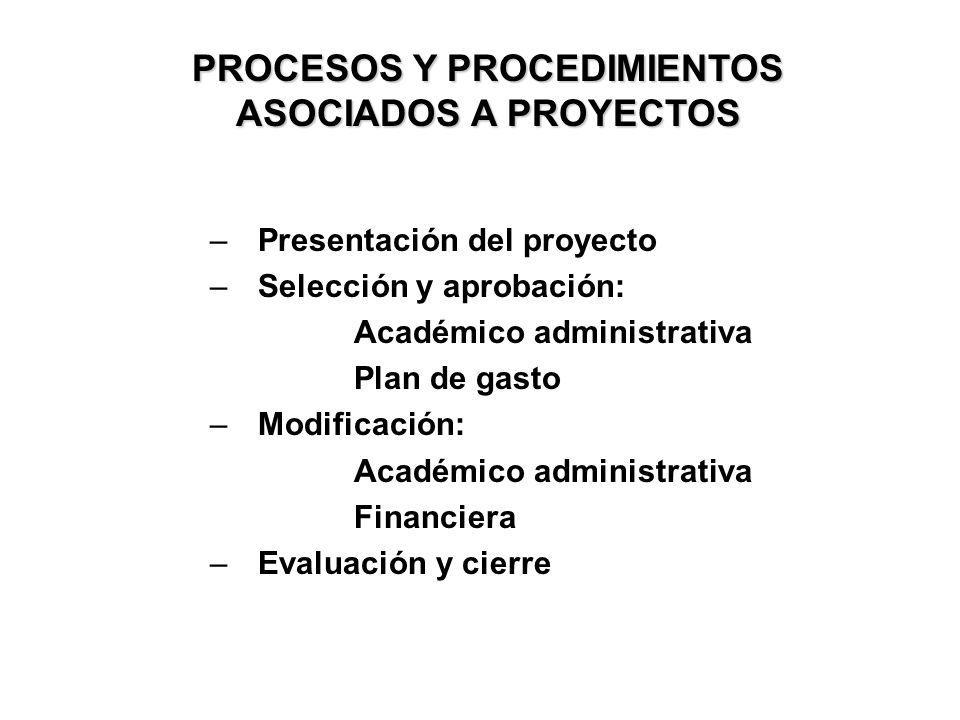 –Presentación del proyecto –Selección y aprobación: Académico administrativa Plan de gasto –Modificación: Académico administrativa Financiera –Evaluac
