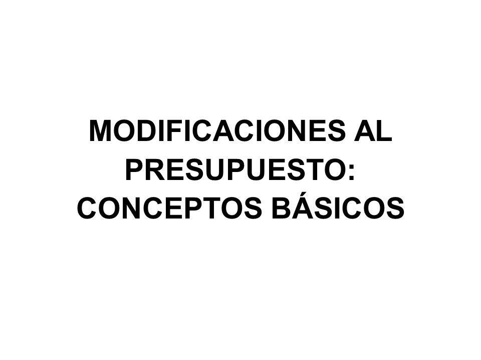 MODIFICACIONES AL PRESUPUESTO: CONCEPTOS BÁSICOS