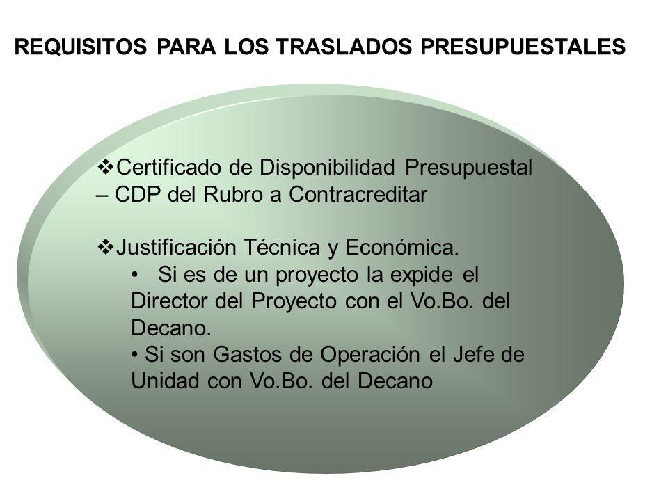 REQUISITOS PARA LOS TRASLADOS PRESUPUESTALES Certificado de Disponibilidad Presupuestal – CDP del Rubro a Contracreditar Justificación Técnica y Econó