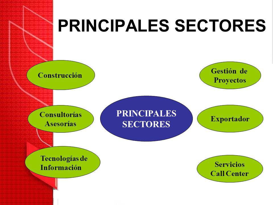 PRINCIPALES SECTORES PRINCIPALES SECTORES Consultorías Asesorías Gestión de Proyectos Exportador Servicios Call Center Construcción Tecnologías de Inf