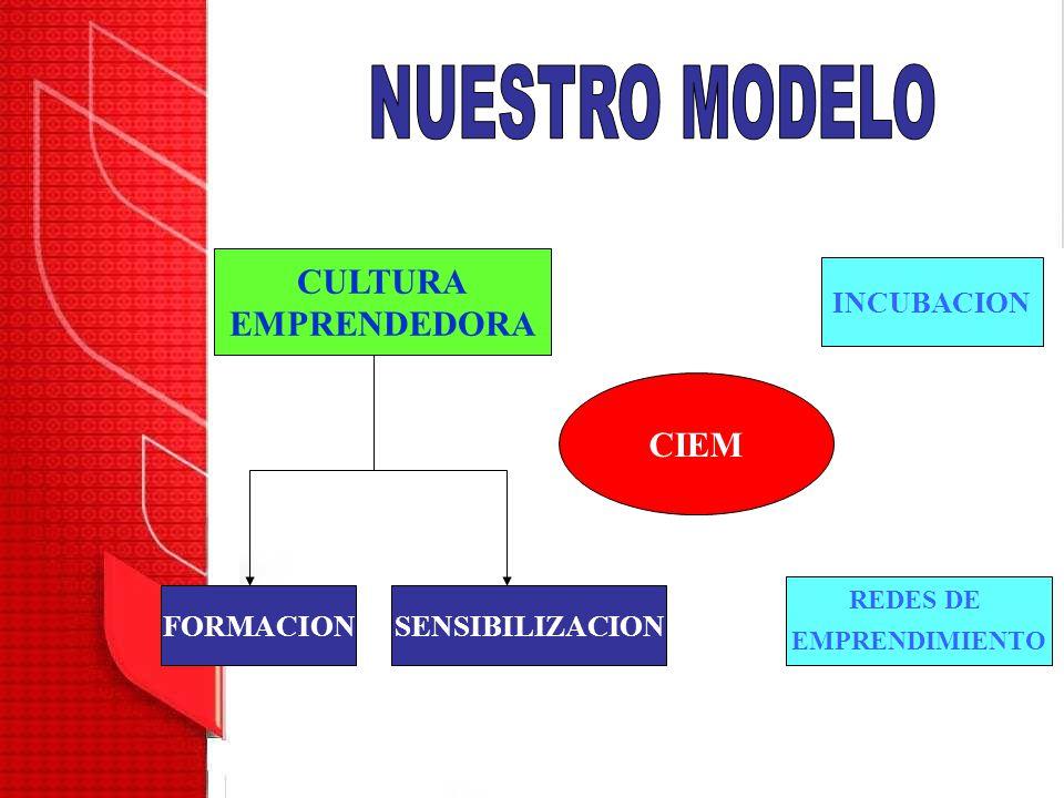 CULTURA EMPRENDEDORA FORMACIONSENSIBILIZACION CIEM INCUBACION REDES DE EMPRENDIMIENTO