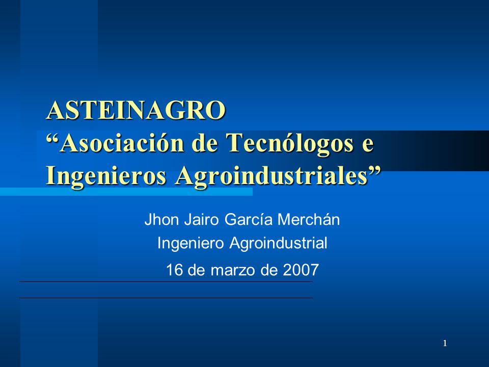 1 ASTEINAGRO Asociación de Tecnólogos e Ingenieros Agroindustriales Jhon Jairo García Merchán Ingeniero Agroindustrial 16 de marzo de 2007
