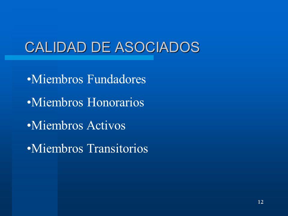 12 CALIDAD DE ASOCIADOS Miembros Fundadores Miembros Honorarios Miembros Activos Miembros Transitorios