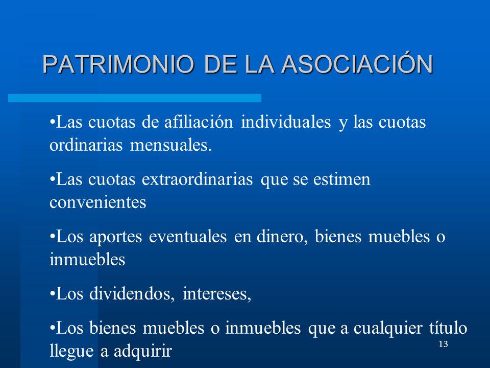 13 PATRIMONIO DE LA ASOCIACIÓN Las cuotas de afiliación individuales y las cuotas ordinarias mensuales.