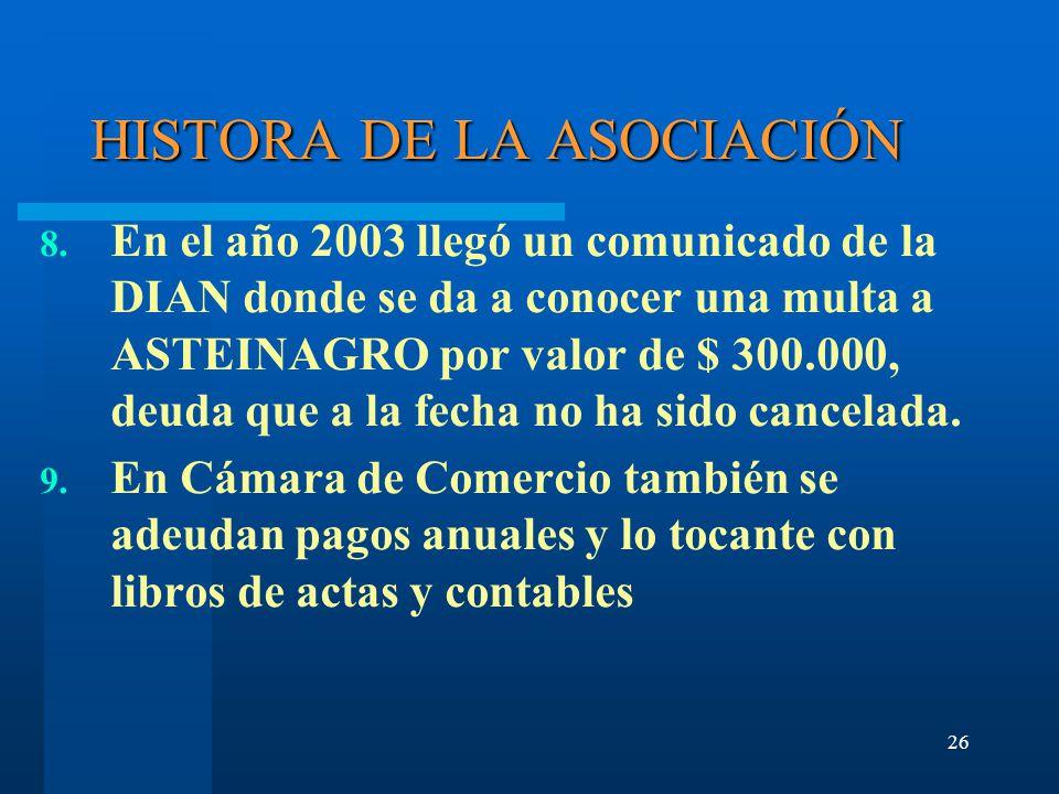 26 HISTORA DE LA ASOCIACIÓN 8.
