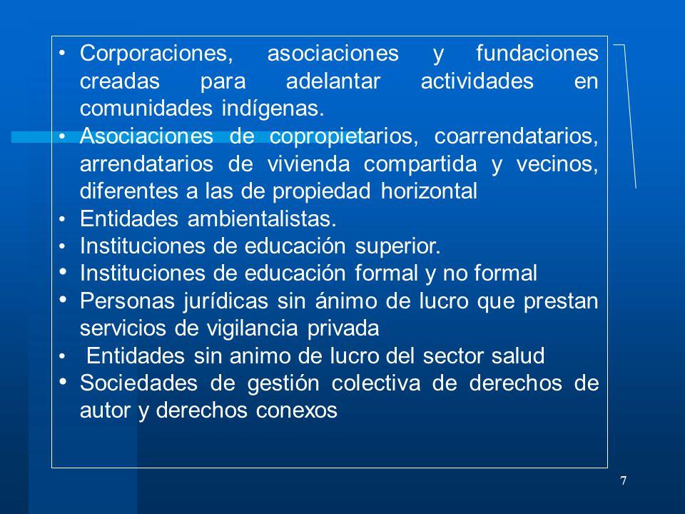 7 Corporaciones, asociaciones y fundaciones creadas para adelantar actividades en comunidades indígenas.