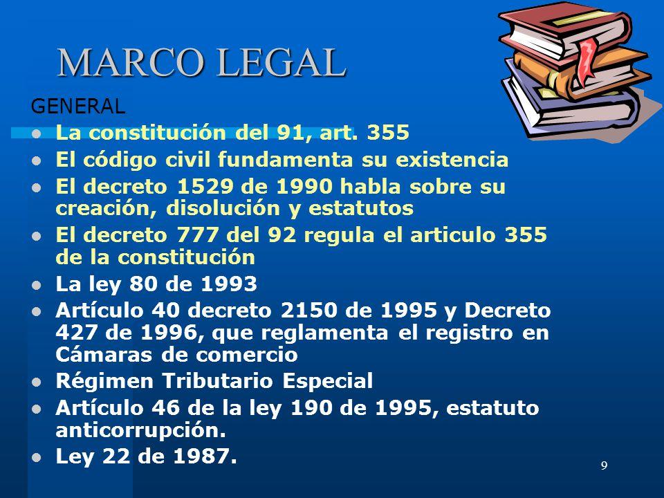 9 MARCO LEGAL GENERAL La constitución del 91, art.