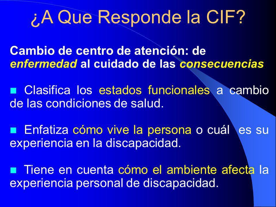Cambio de centro de atención: d e enfermedad al cuidado de las consecuencias n n Clasifica los estados funcionales a cambio de las condiciones de salud.