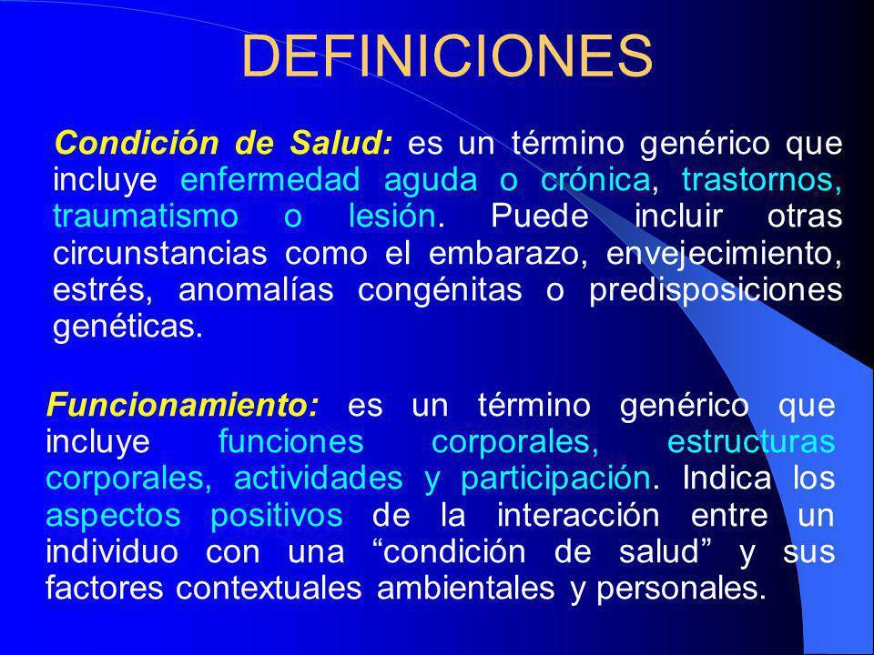 DEFINICIONES Funcionamiento: es un término genérico que incluye funciones corporales, estructuras corporales, actividades y participación.